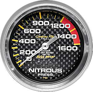 Carbon Fibre NITROUS PRESSURE 0-1600 PSI 67mm 2 5/8 in