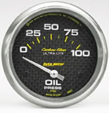 Autometer Carbon Fibre -Oil Pressure 0-100 psi elec 52mm